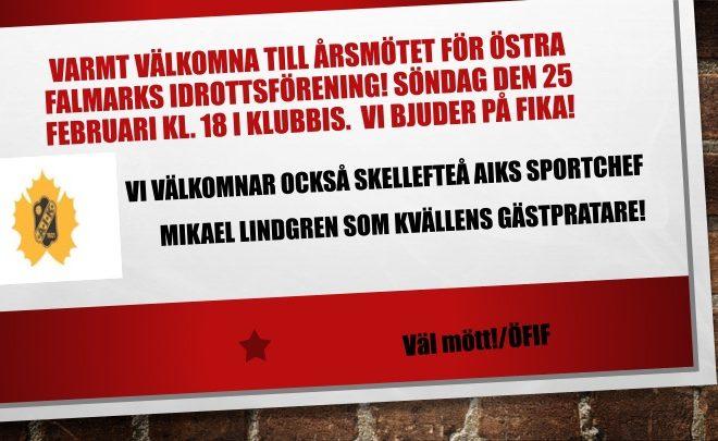 Välkomna till Östra Falmarks IF:s årsmöte!