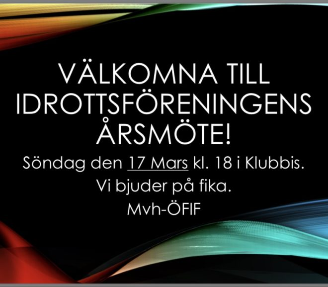 Välkomna till idrottsföreningens årsmöte!